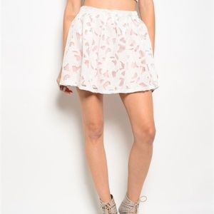 New ivory and peach lace mini skirt